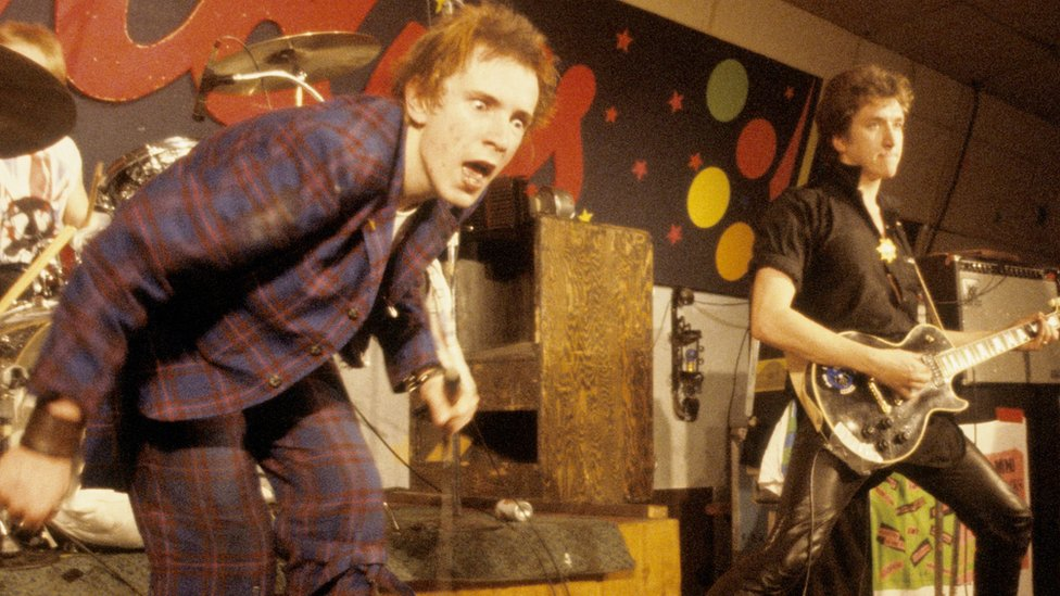 Johnny Rotten (left) and Steve Jones of the Sex Pistols in 1978