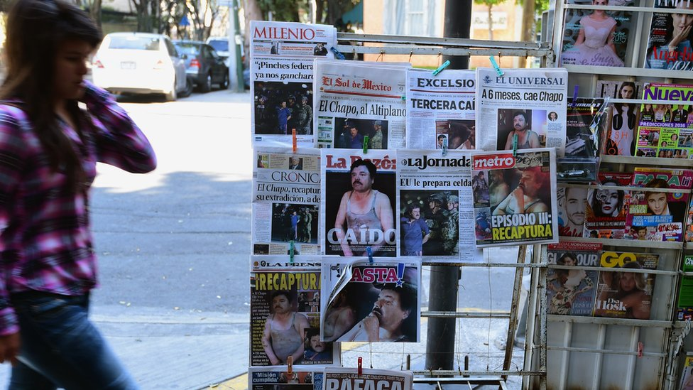 Newspaper stand in Mexico