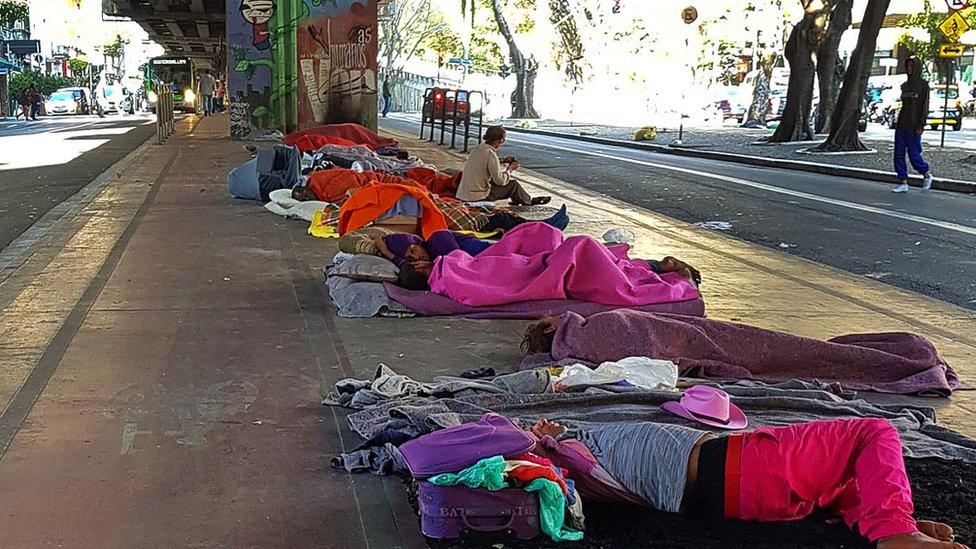 Moradores de rua no centro de SP