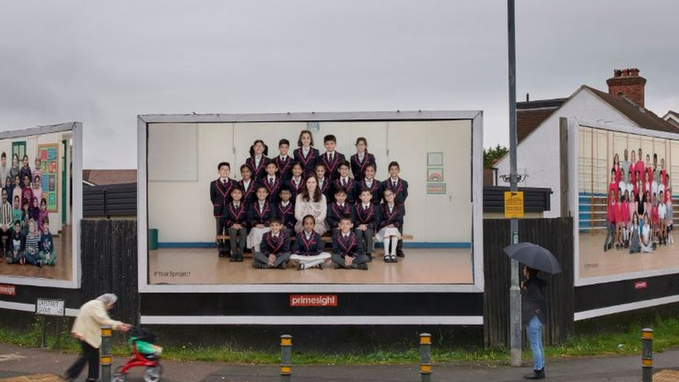 Year Three class photograph on billboards