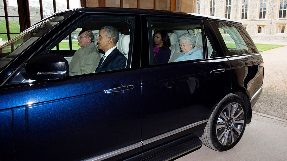 Prince Philip driving the Obamas