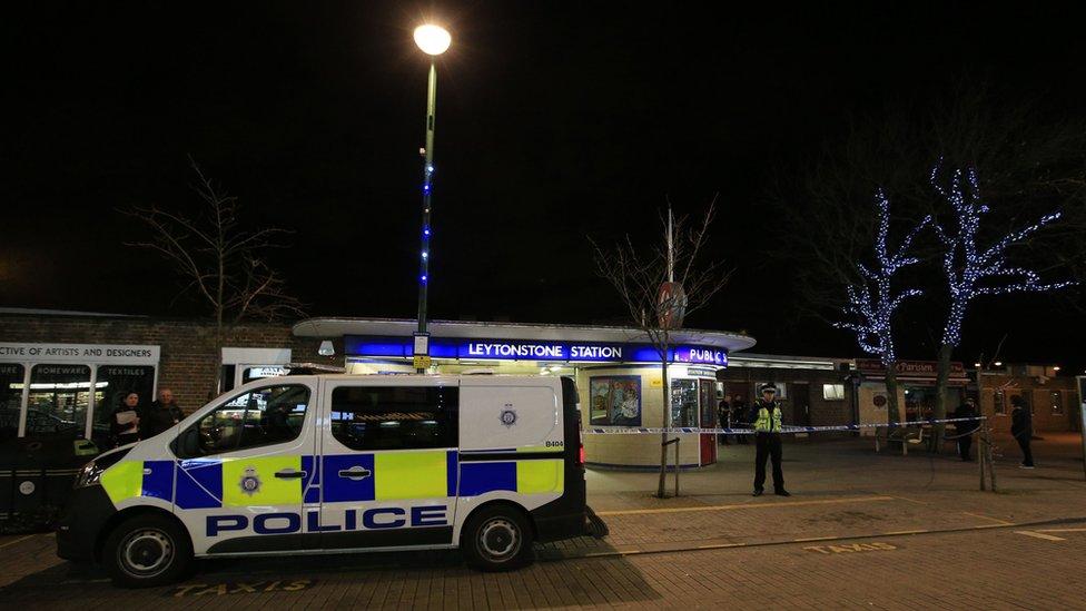 Police van outside Leytonstone Tube station