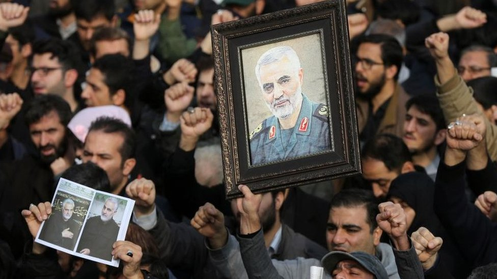 Protest in Tehran against the killing of Qasem Soleimani (3 Jan)