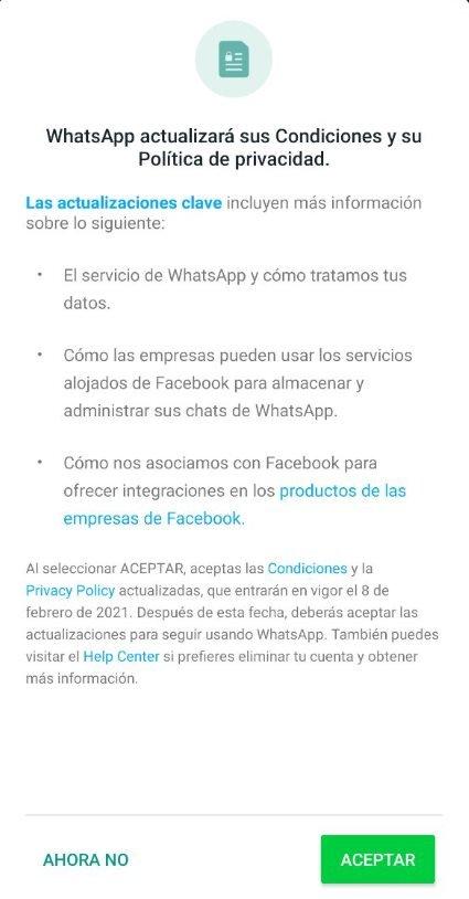 Una notificación de cambios de términos en WhatsApp