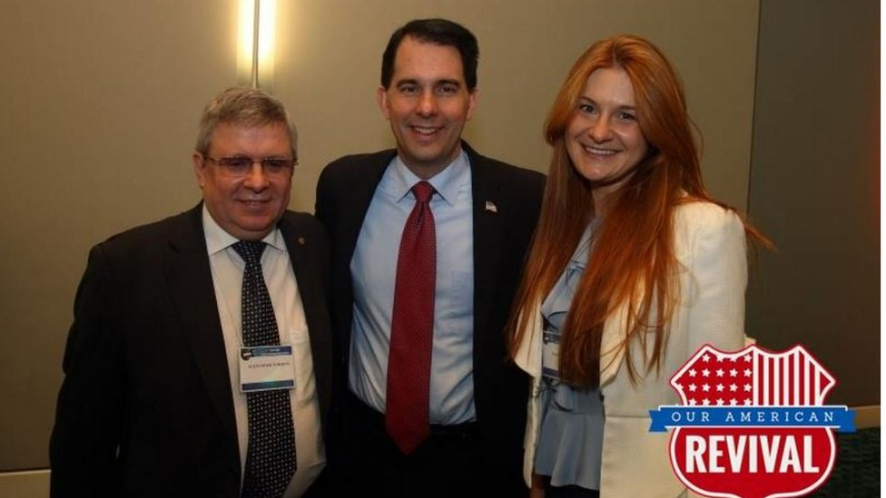 Ms Butina and Mr Torshin met Wisconsin Governor Scott Walker at an NRA convention