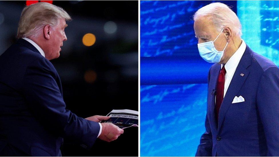 Doble imagen de Donald Trump y Joe Biden