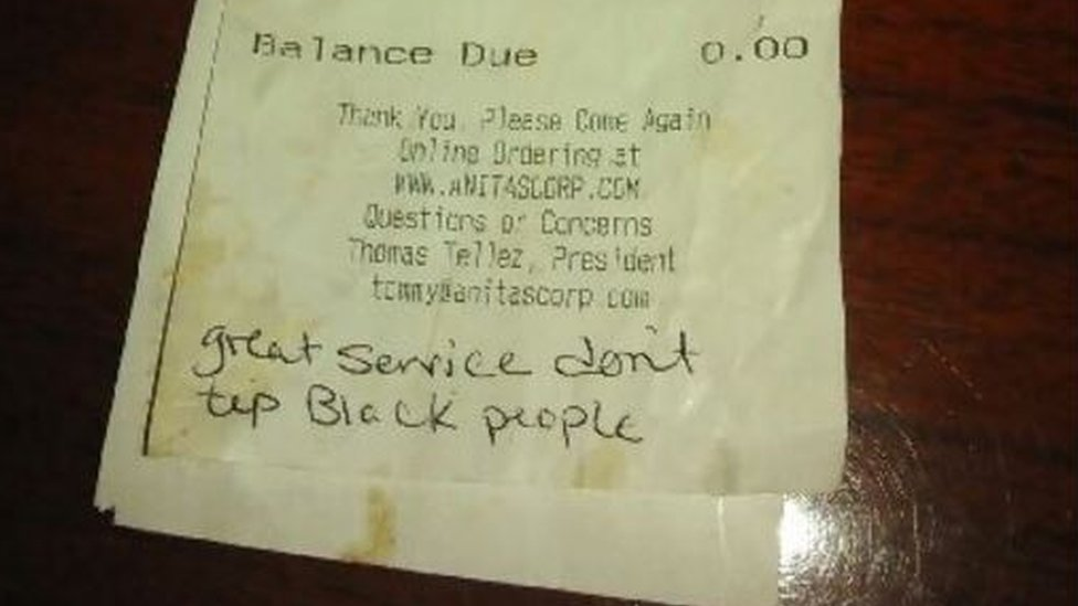 We Don T Tip Black People Note To Virginia Waitress Said Bbc News