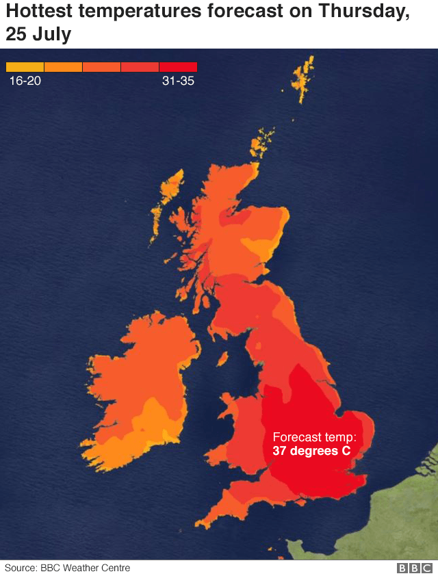 Temperature map of the UK