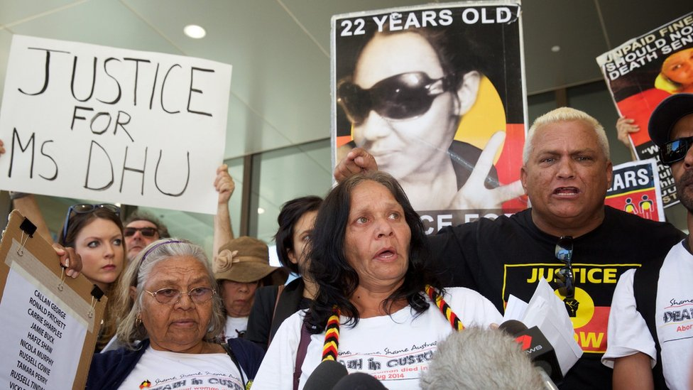 Relatives of Ms Dhu participate in a protest outside the coroner's court in Perth, Australia, 16 December 2016