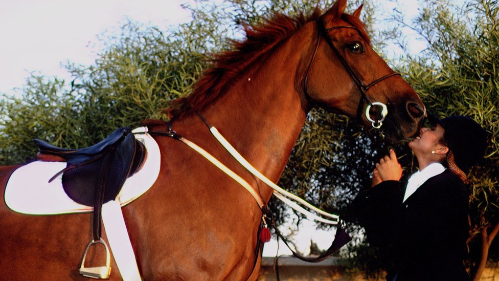 Princess Haya with horse in 1993