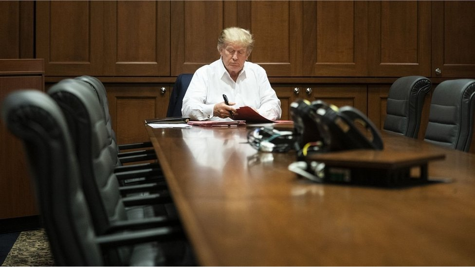 President Donald Trump. Seen in a photo, allegedly dated Saturday 03 October 2020, from the White House