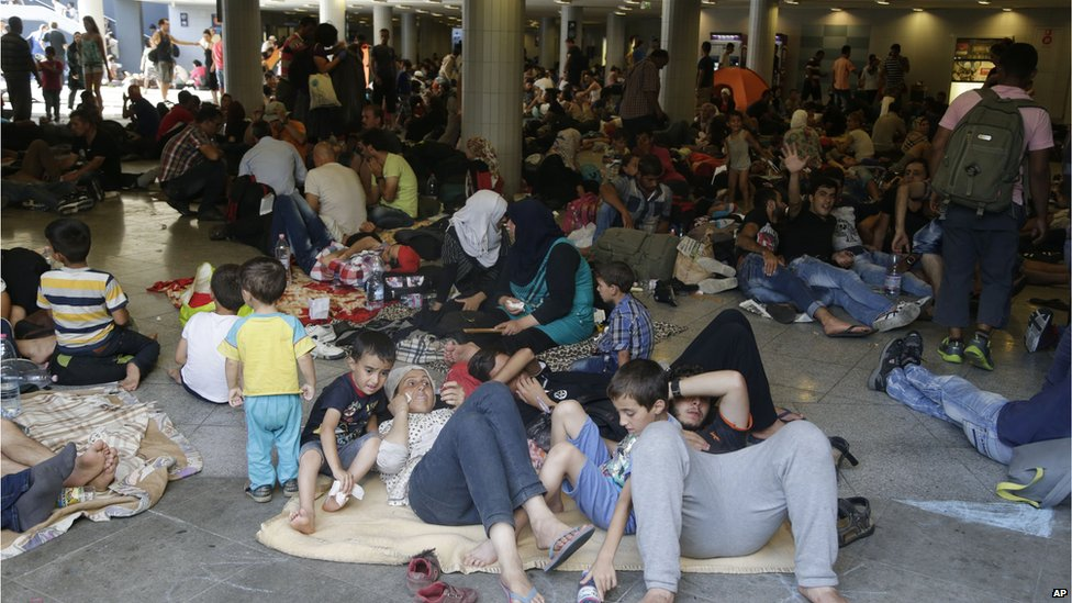 Migrants at Keleti station