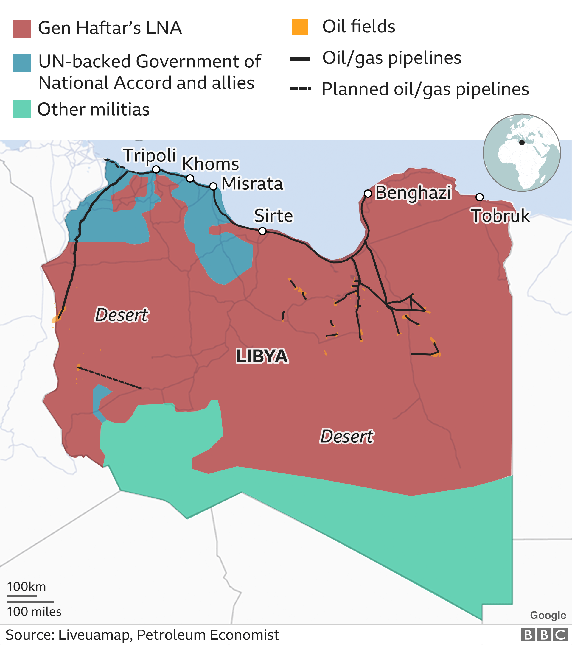 map showing who controls libya