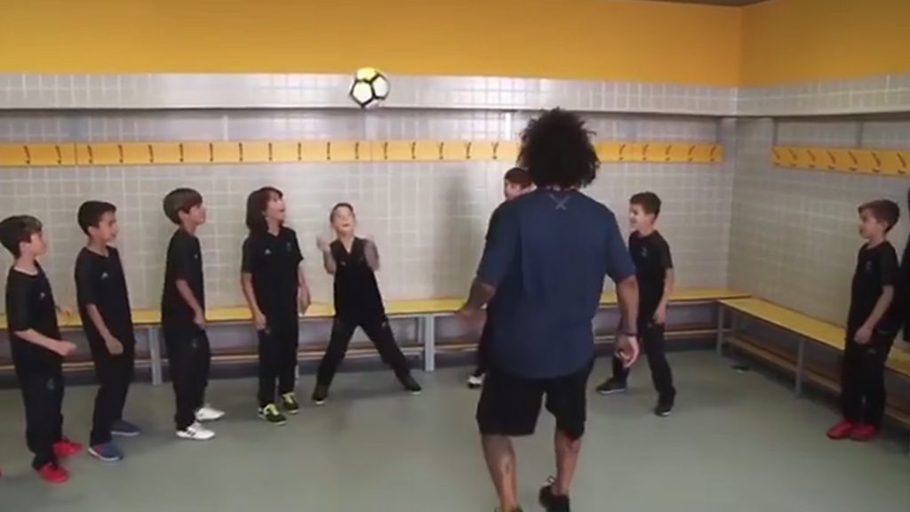 Watch Real Madrid's Marcelo header challenge with his son's team