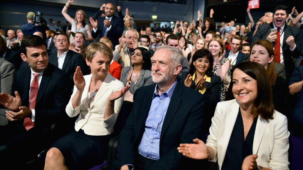 Jeremy Corbyn being announced as new Labour leader