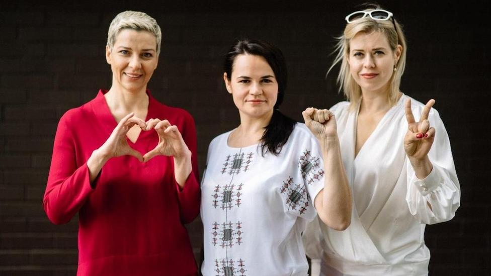 Maria Kolesnikova, Svetlana Tikhanovskaya and Veronika Tsepkalo