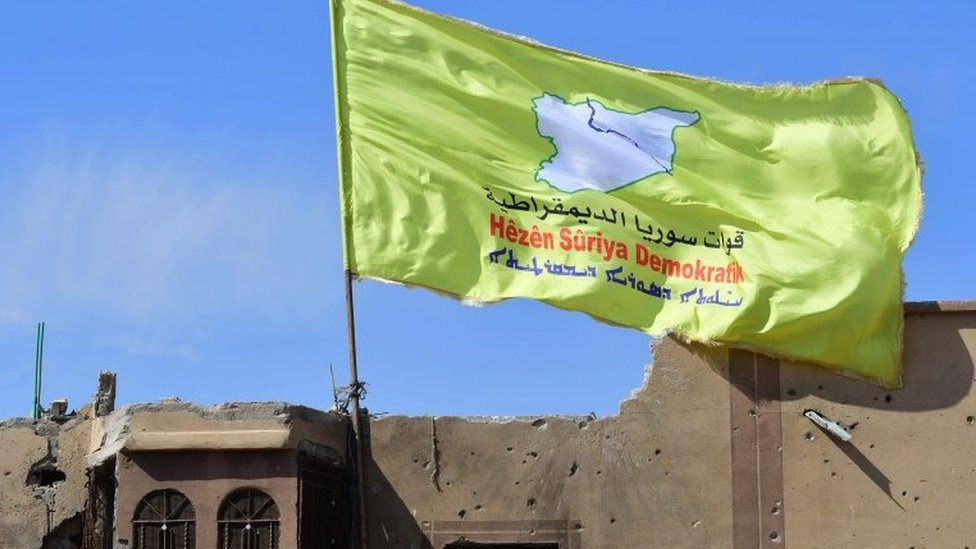 सीरियन डेमोक्रेटिक फ़ोर्सेज़ का झंडा