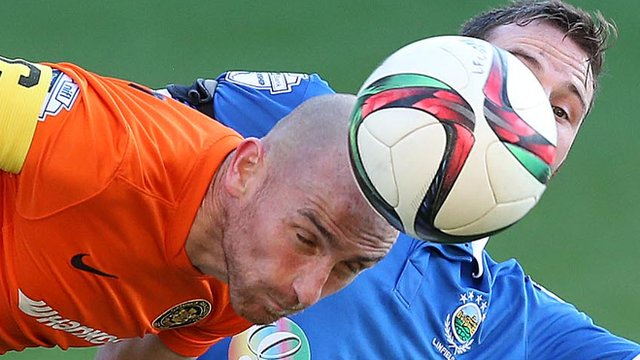 Action from Linfield against Carrick Rangers