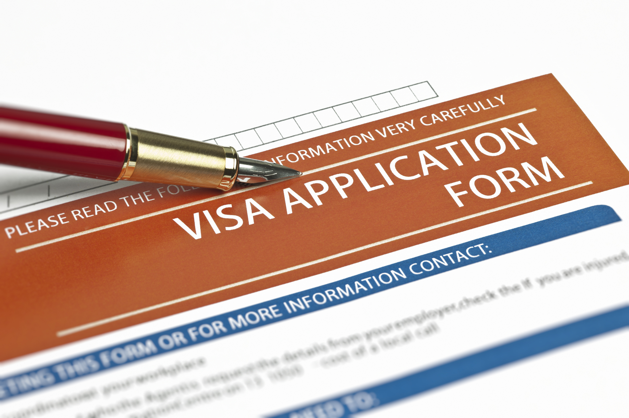 A visa application form