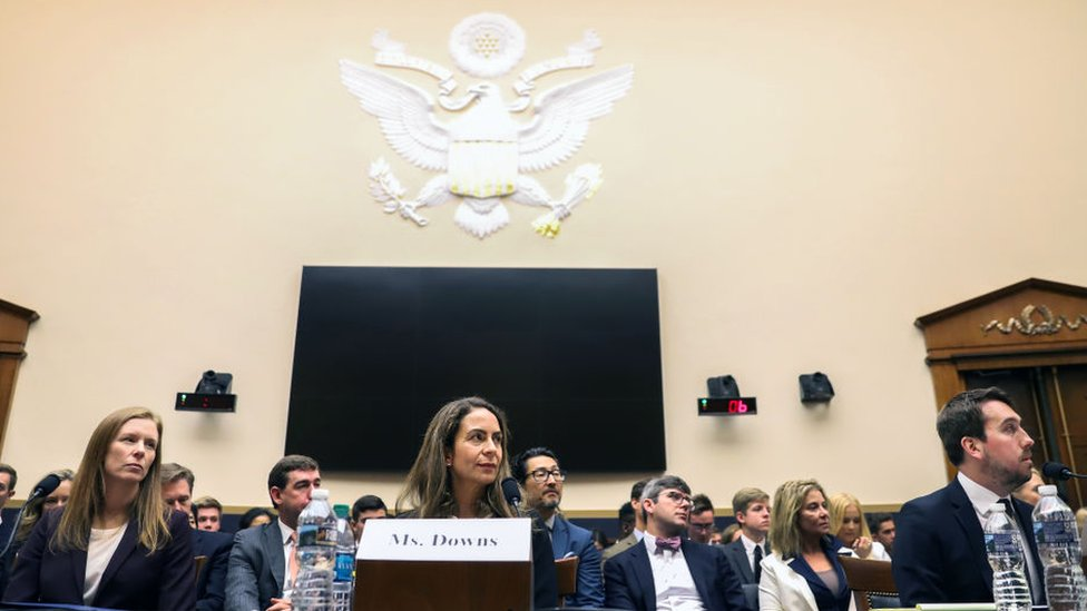 (L-R) Monika Bickert, the head of global policy management at Facebook, Juniper Downs, global head of public policy and government relations at YouTube, and Nick Pickles, the Senior Strategist at Twitter, testify to the House Judiciary Committee.
