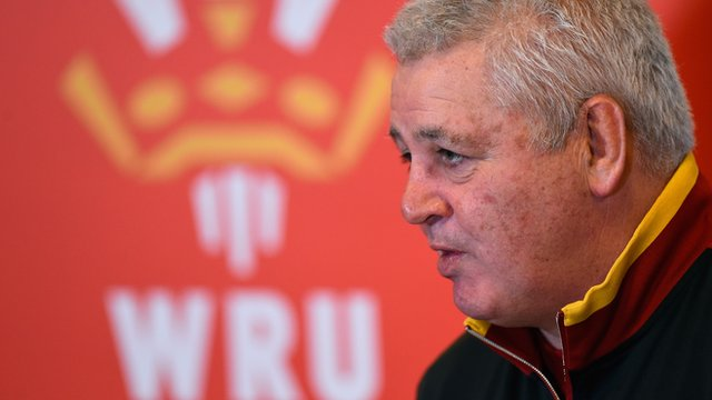 Warren Gatland at today's pre England v Wales press conference