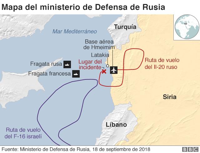 Mapa del ministerio de Defensa de Rusia.