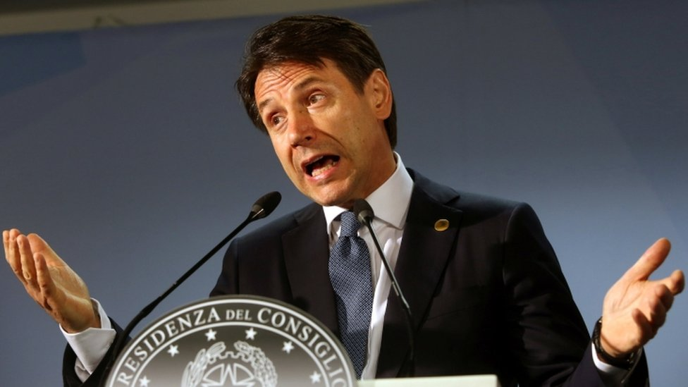 Italian Prime Minister Giuseppe Conte addresses a news conference during an European Union leaders summit in Brussels