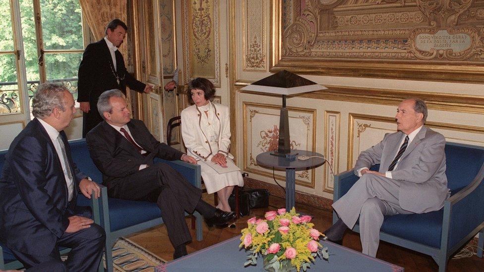Milošević u poseti Miteranu u avgustu 1991.