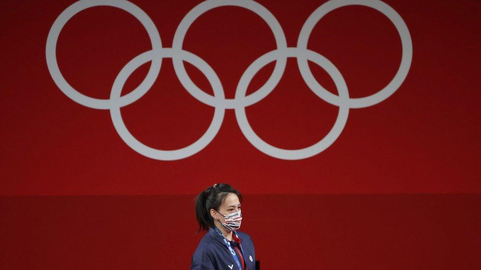 東京國際論壇東京奧運舉重賽場中華台北選手郭婞淳在頒獎禮上(27/7/2021)