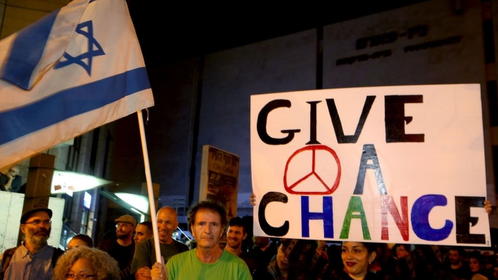 Activists protest against the rising tension in Jerusalem, 10 Oct 2015