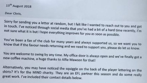 Barnsley write supportive letter to fan who discussed depression