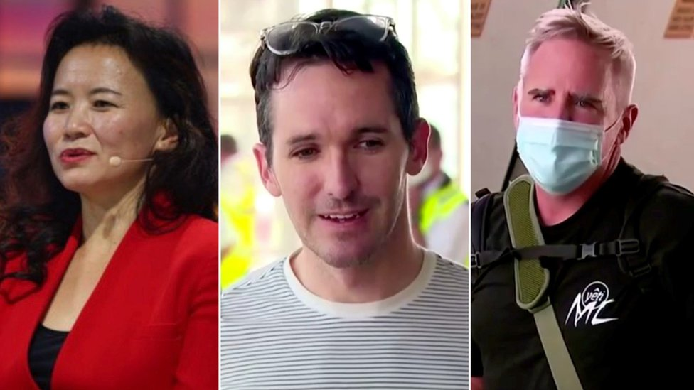 Australian journalist Cheng Lei (left) has been detained in China while Bill Birtles (centre) and Mike Smith were rushed home