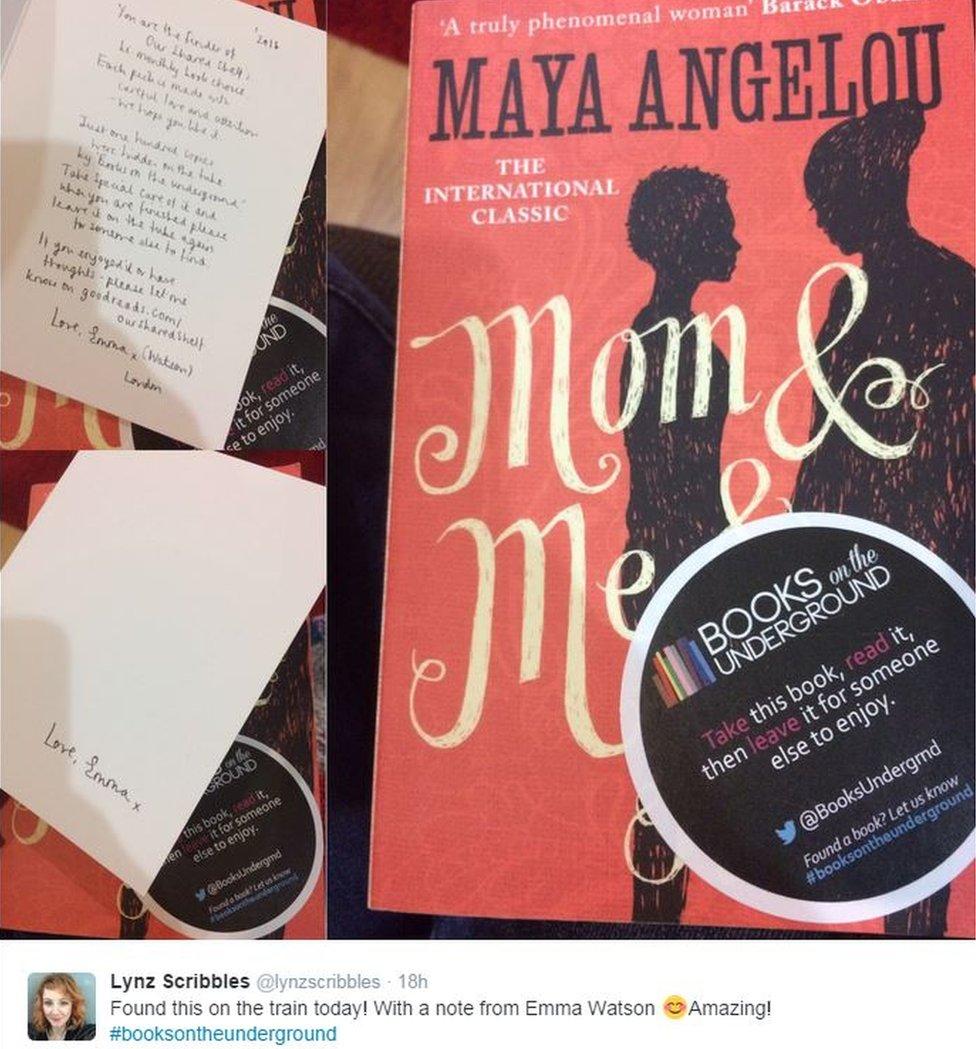 Tweet of Emma Watson's note which was left in a book found on the Underground
