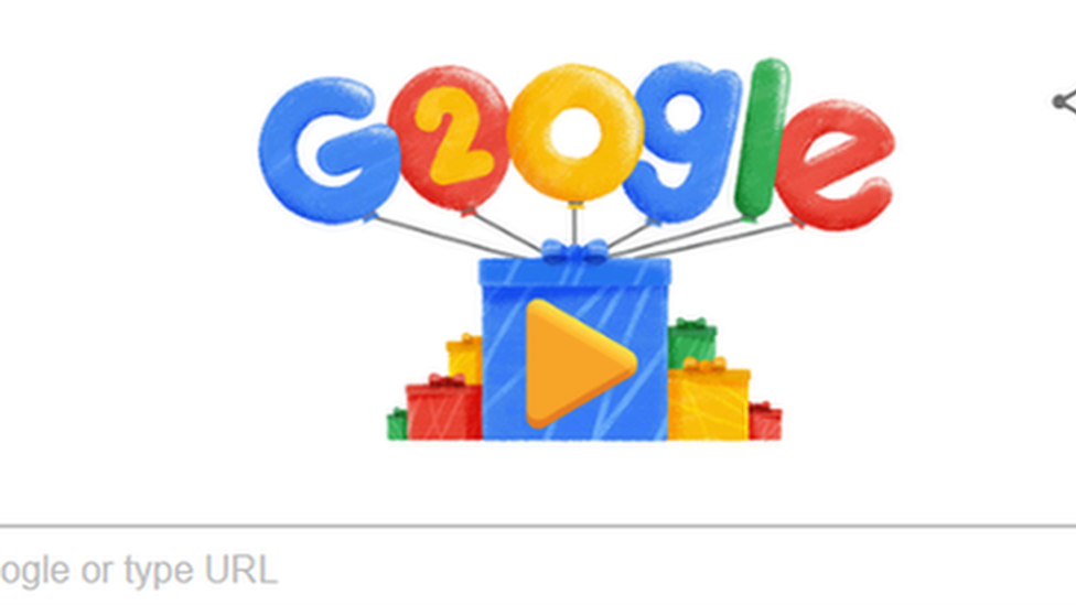 Doodle of Google's 20th anniversary