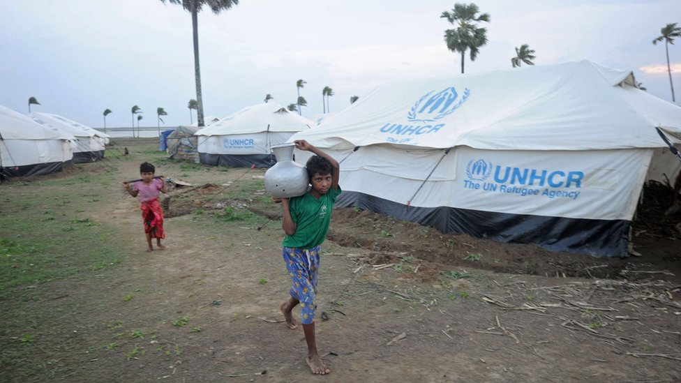 Rohingya children in a camp for internally displaced persons in Myanmar