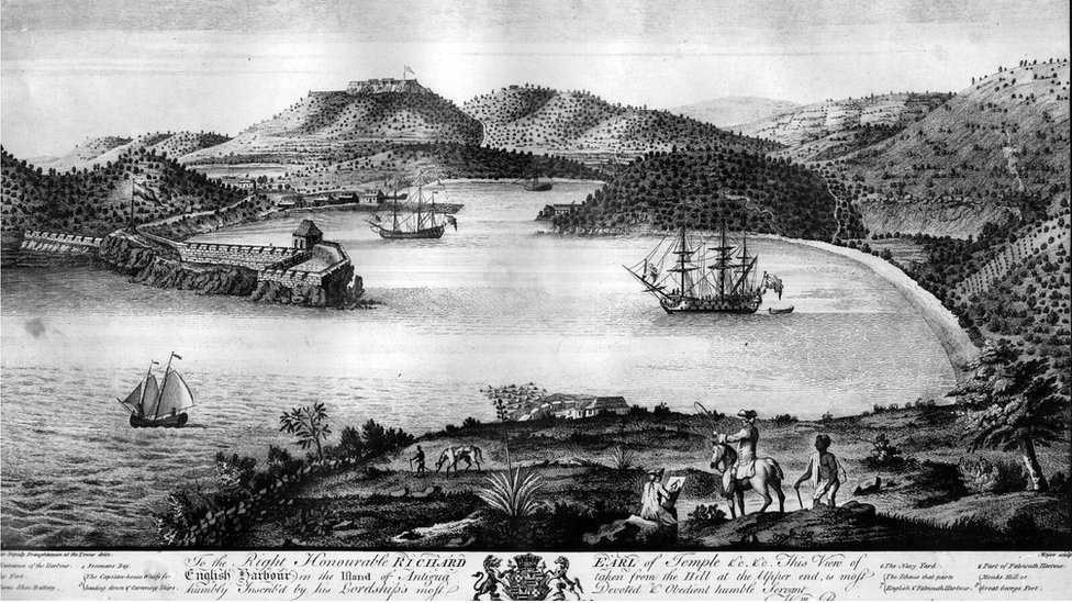 A drawing shows English Harbour in 1754