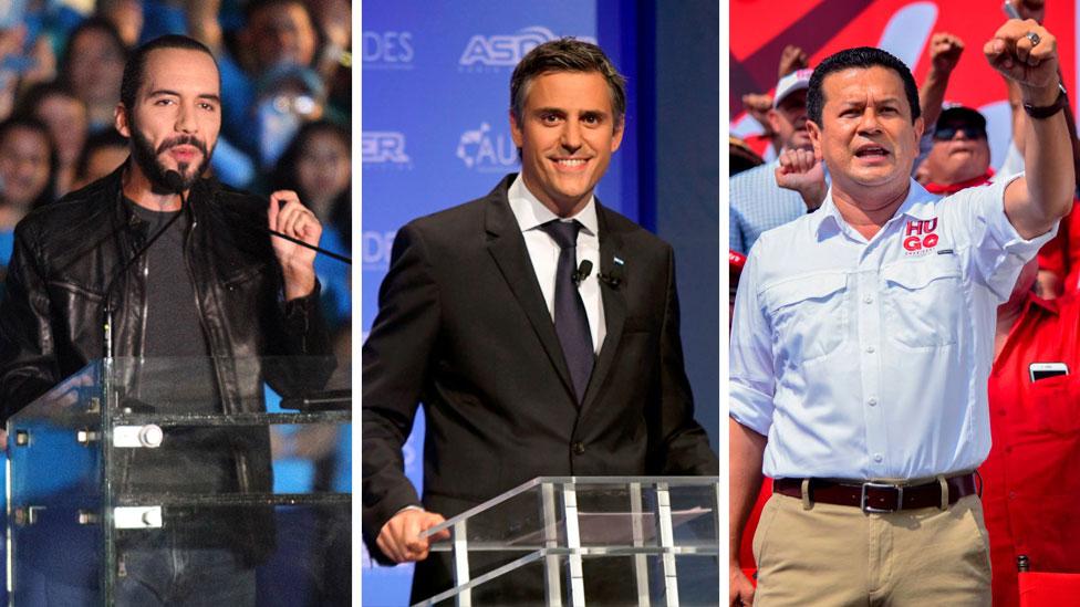 Bukele, Calleja y Martínez, candidatos a la presidencia de El Salvador.