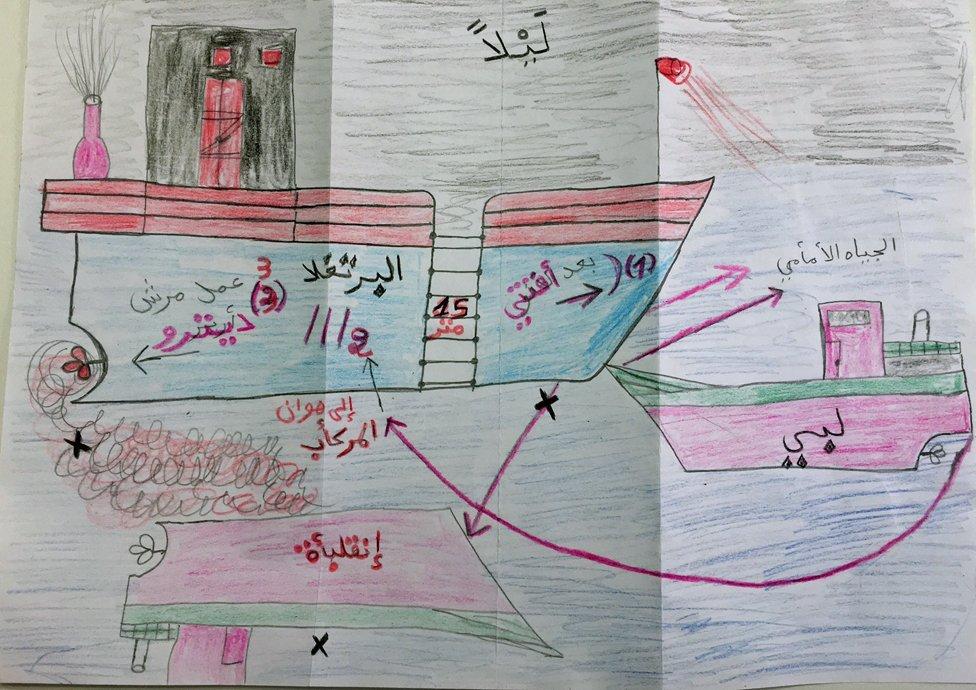 Mohammed Ali Malek, quien luego sería juzgado por tráfico humano, dibujó el momento de la colisión.