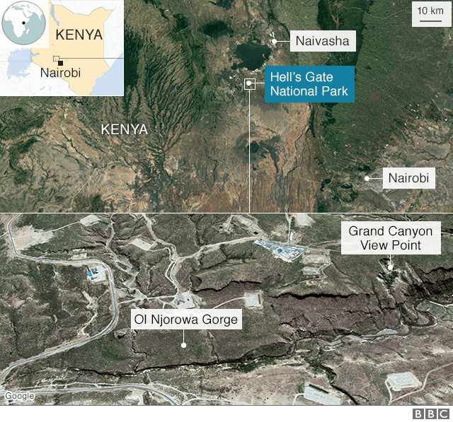 Map showing Hell's Gate National Park in Kenya