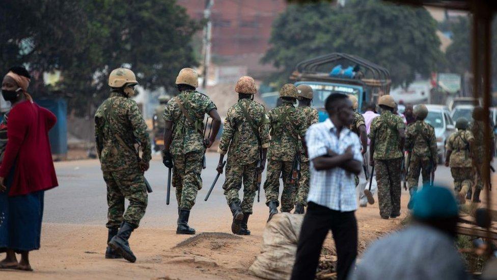 Security force members on patrol in Kampala, Uganda - 14 January 2021