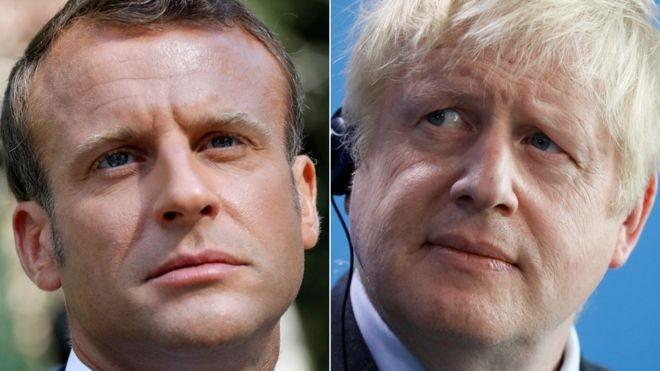 Fransa Cumhurbaşkanı Emmanuel Macron ve İngiltere Başbakanı Boris Johnson