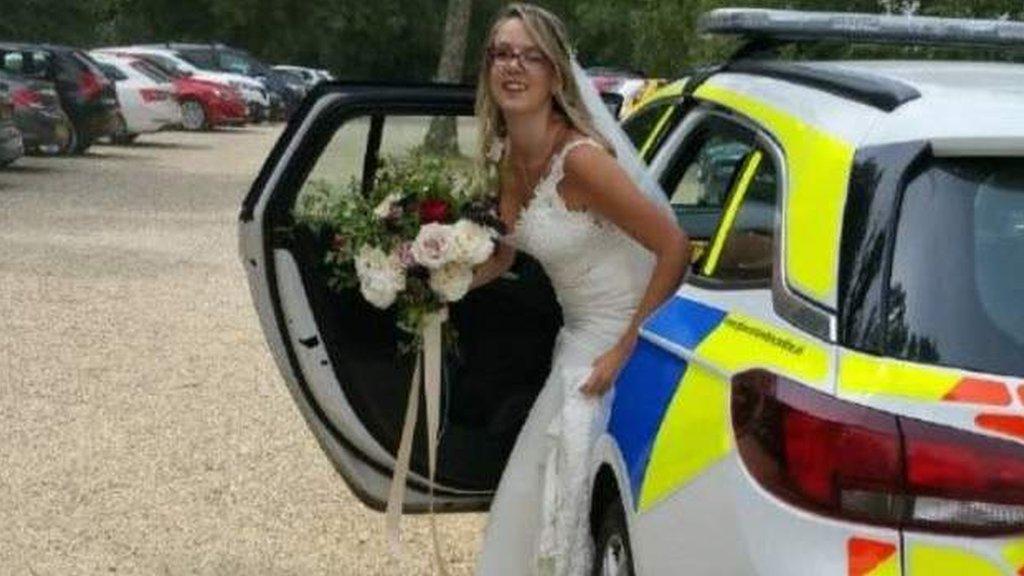 Stranded bride gets police car lift to wedding in Bibury