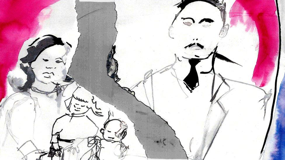 Ilustración de una familia rota