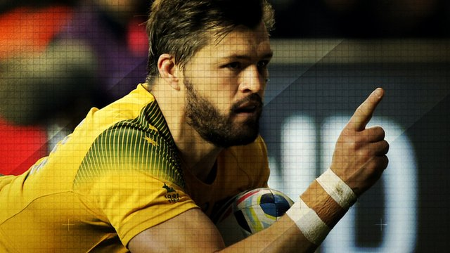 Australia's Adam Ashley-Cooper celebrates after scoring a try against Argentina in the Rugby World Cup semi-final