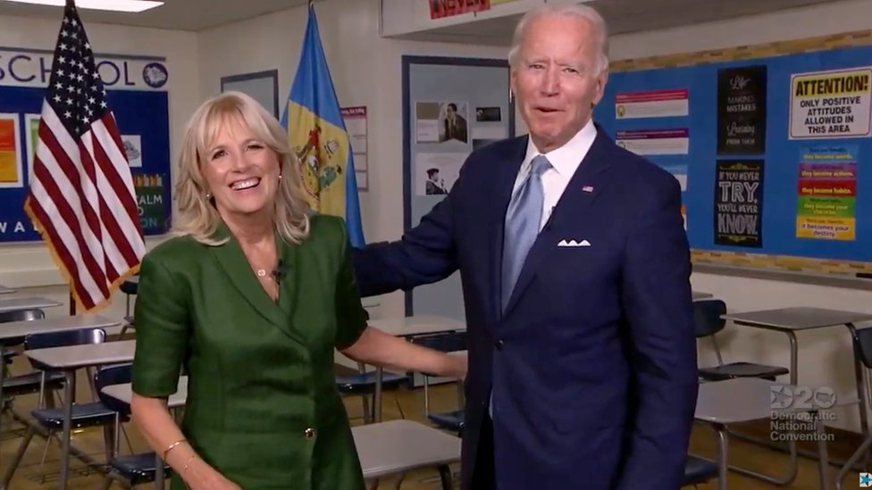 Jill and Joe Biden at the Democratic National Convention, 18 August 2020
