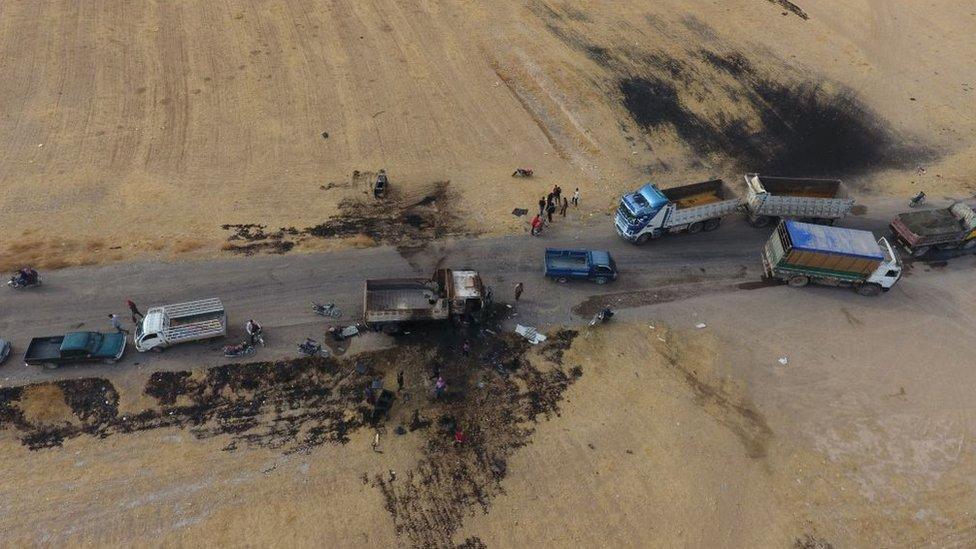 Ebu Hasan el Muhacir'in Cerablus'un Ayn el Bayda köyü yakınında öldüğü iddia edilen yerin havadan görüntüsü