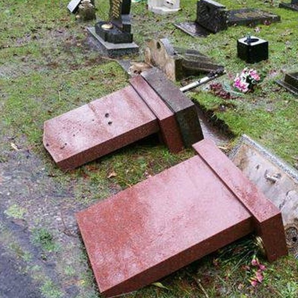 Vandalised graves in Ferndale
