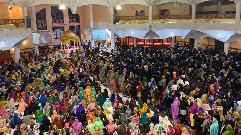 Gurdwara Sri Guru Singh Sabha Southall in Southall during Diwali
