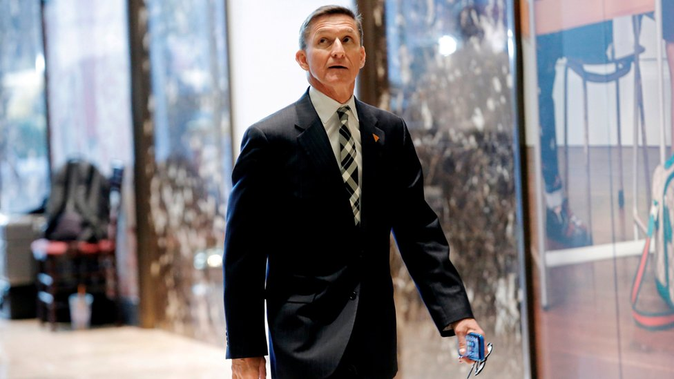 Retired three star general Michael Flynn enters Trump Towers