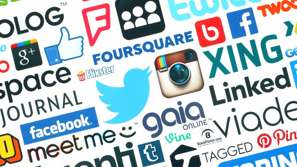 Collected social media logos on a page